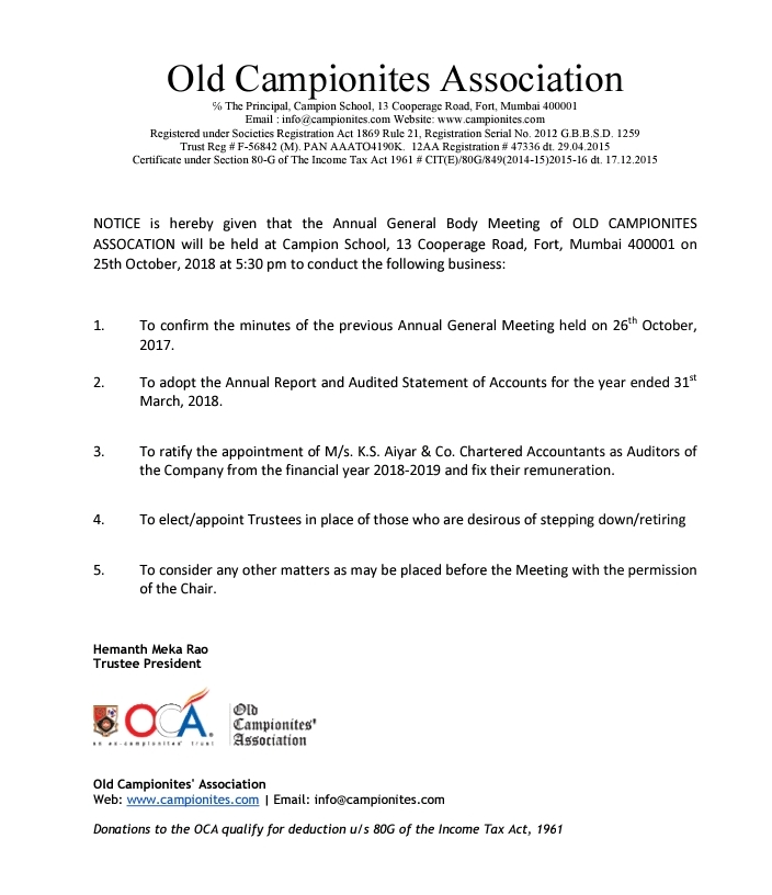 OCA - Annual General Meeting